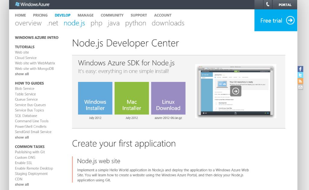Azure Node js developer center homepage redesign – Yavor Georgiev